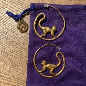 Monkey Tory Burch gold hoops 16k authentic